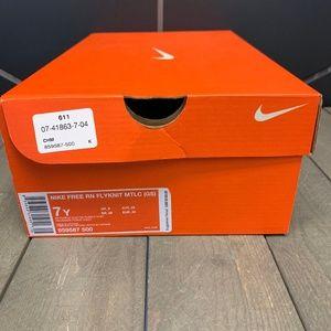 Nike Shoes - Nike Free Run Flyknit Dark Purple Metallic Shoe 7Y